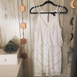 White House Black Market White Beaded Dress D10